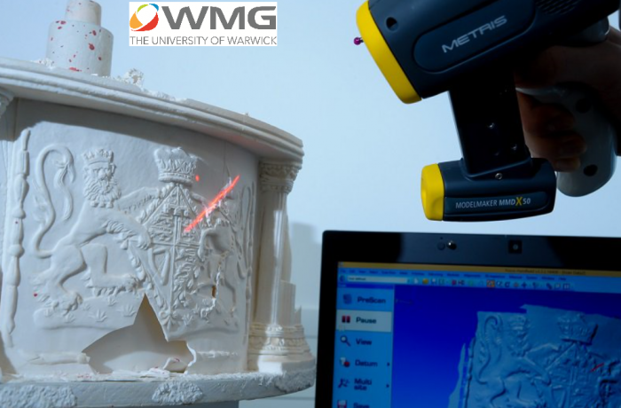 3D laser scanning of one of the delicate side panels at WMG, University of Warwick