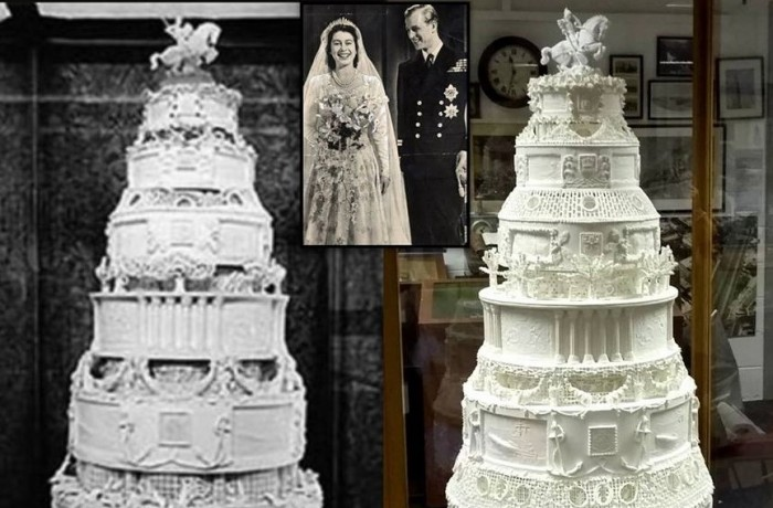 The original (left) & the newly completed replica (right) of the Peek Frean Queen's Wedding Cake recreated by members of The British Sugarcraft Guild.