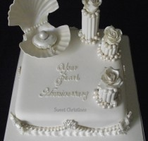 Sugarpaste - Christine Avey R8 Hillingdon and District Branch </br>- Pearl Wedding Anniversary – NEC Competition Piece