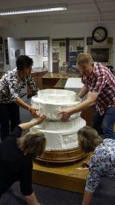 assembling the cake