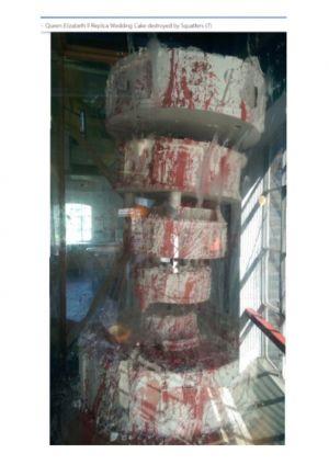 replica cake - full photo showing damage
